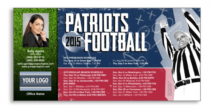 Football Schedule Postcards
